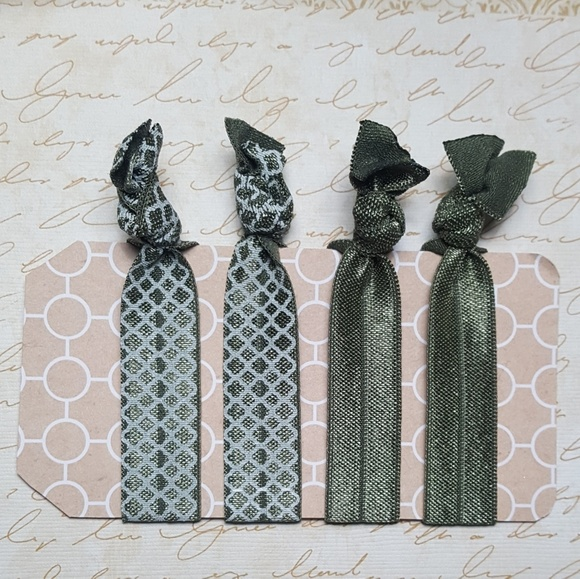 80a638cf8484 Accessories | Set Of 4 Hunter Green Olive Elastic Hair Ties | Poshmark